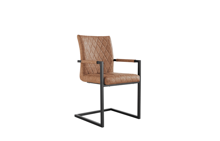 Edison Industrial Oak Range - Diamond Stitch Tan Cantilever Carver Chair