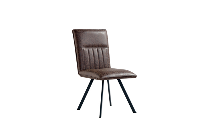 Edison Industrial Oak Range - Henry PU Leather Dining Chair - Brown
