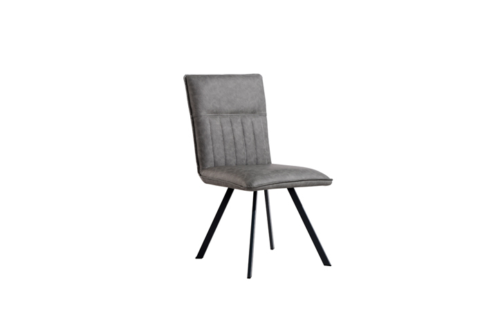 Edison Industrial Oak Range - Henry PU Leather Dining Chair - Grey