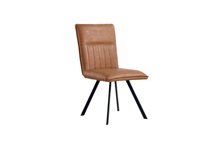 Edison Industrial Oak Range - Henry PU Leather Dining Chair - Tan