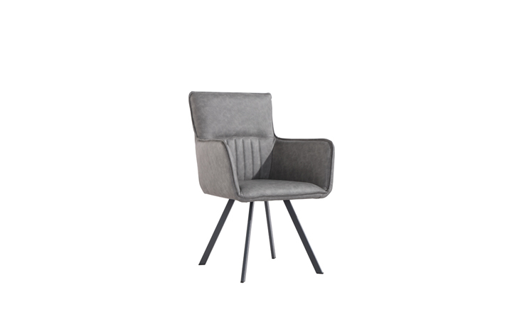 Edison Industrial Oak Range - Henry PU Leather Carver Dining Chair - Grey