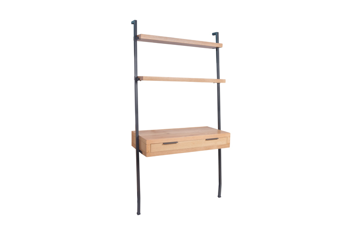 Office Furniture - Ufford Industrial Oak Lean-To Desk Bookcase