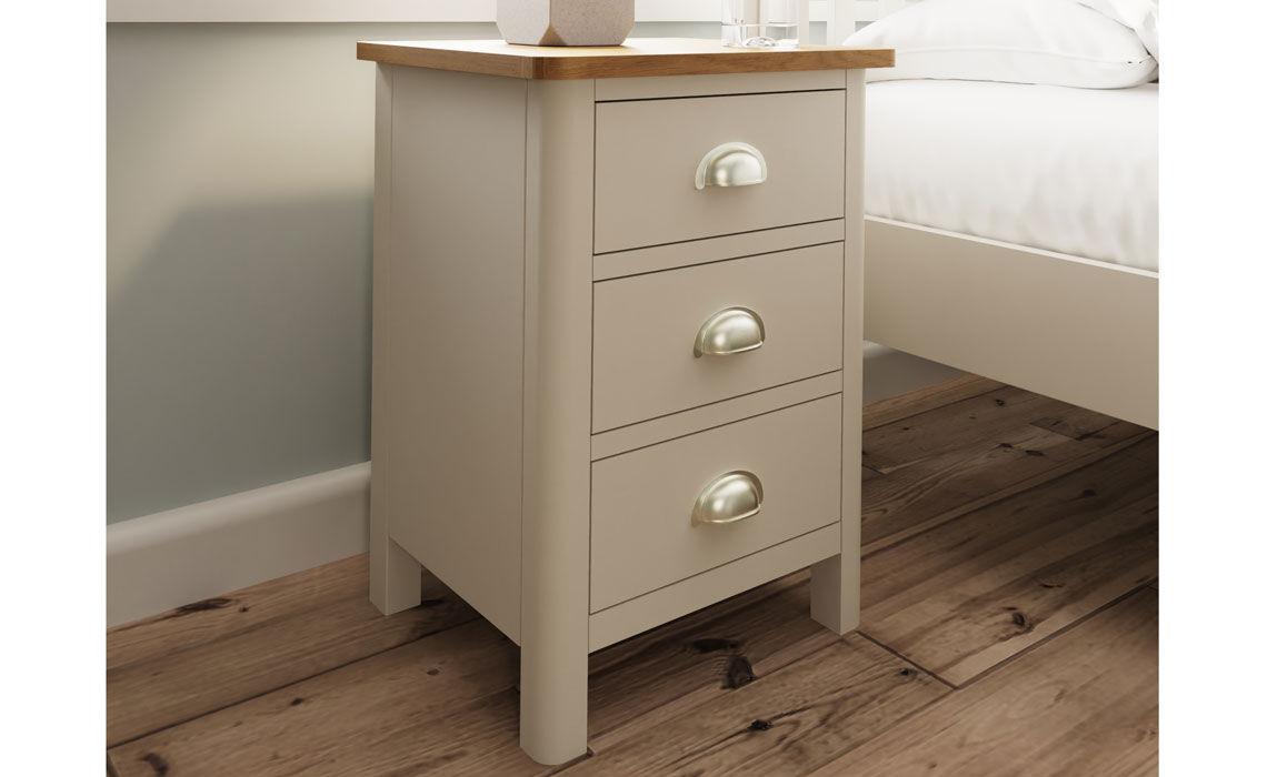 Bedsides - Woodbridge Truffle Grey Painted 3 Drawer Bedside