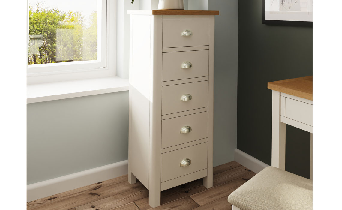 Chest Of Drawers - Woodbridge Truffle Grey Painted 5 Drawer Wellington