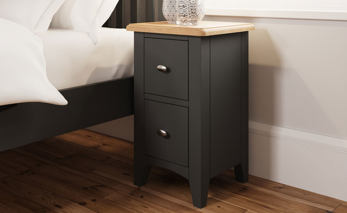 Bedsides - Columbus Grey Painted 2 Drawer Bedside Cabinet