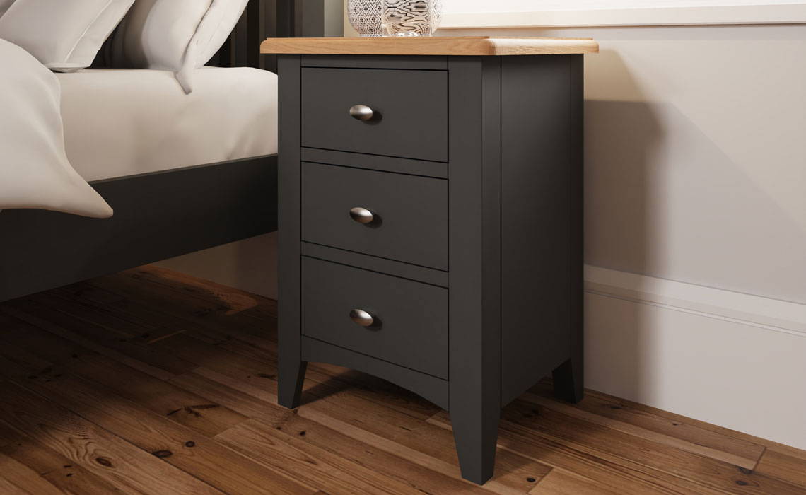 Bedsides - Columbus Grey Painted 3 Drawer Bedside Cabinet