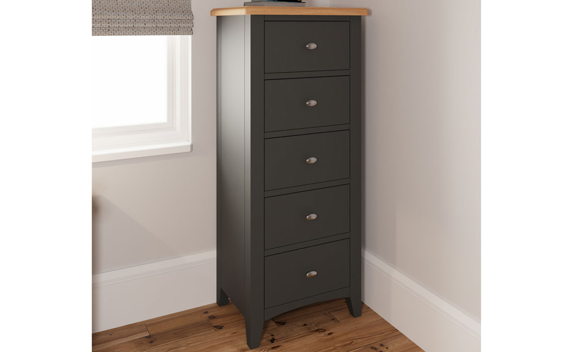Chest Of Drawers - Columbus Grey Painted 5 Drawer Wellington